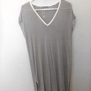 Black and white stripe maxi dress